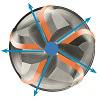 5-skärig pinnfräs invändiga kylkanaler