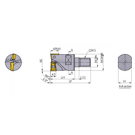 AQX hörnfräs screw-in, kort skärlängd